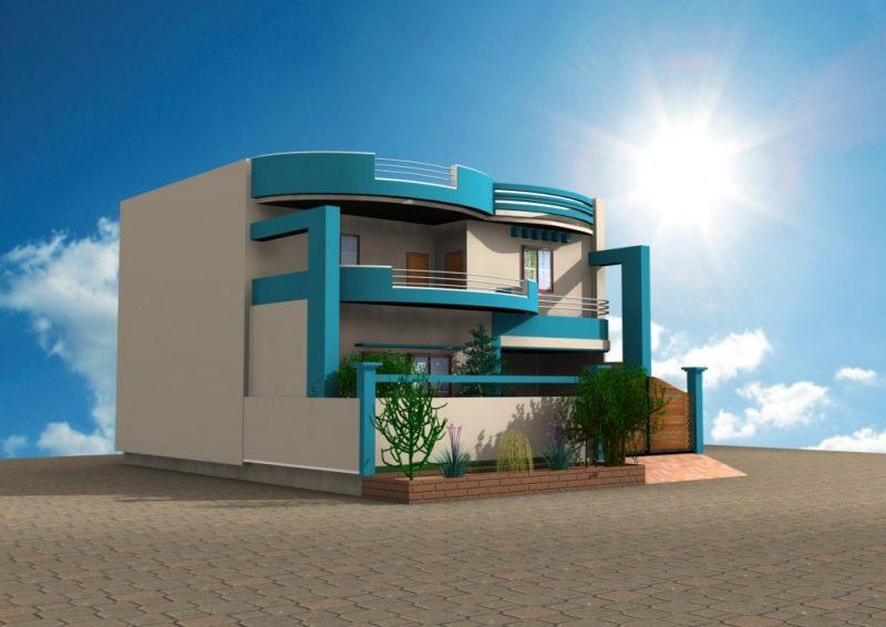 Fassadenfarbe in Hellblau und Weiß