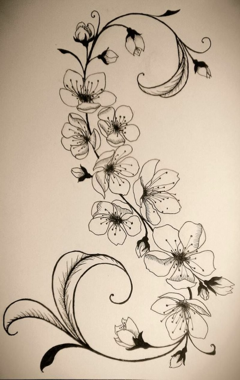 Tattoovorlage Blumenranken interessanter Look