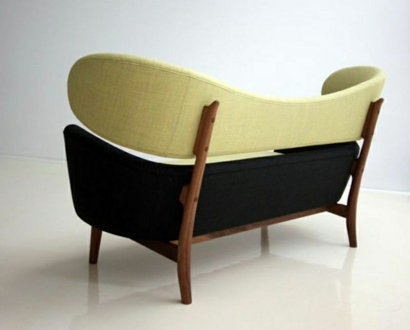 skandinavische Möbel originelles Sofa Creme und Schwarz