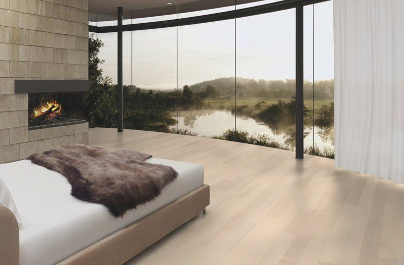 Industrieparkett aus Eiche Schlafzimmer herrliche Aussicht
