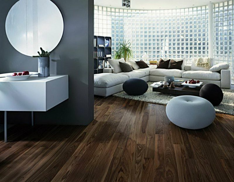 Industrieparkett aus Eiche Bodenbelag Wohnzimmer moderne Einrichtung