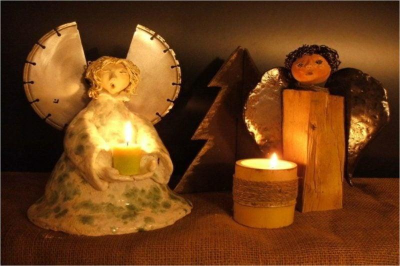 Weihnachtsdeko Ideen Engel aus Keramik Kerze