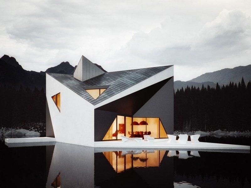 moderne Fassade in Weiß und Schwarz