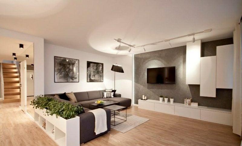 TV Wand Wohnzimmer herrlicher Look Betonoptik