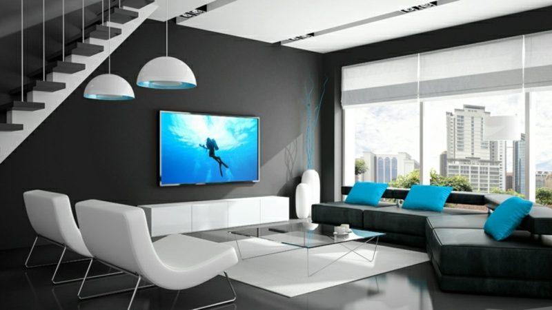 Wohnzimmer Im Schwarz Und Weiss Fernseher, Montiert An Der Wand