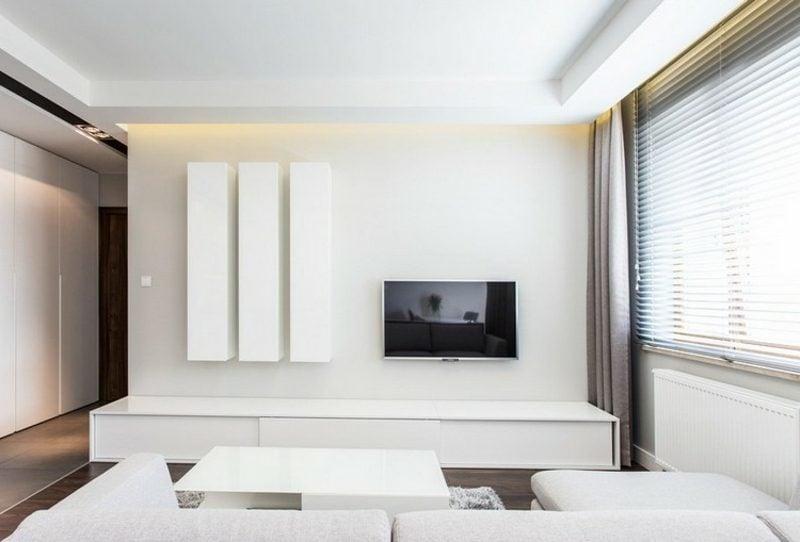 TV Wand selber bauen Wohnzimmer Einrichtung im puristischen Stil weiss