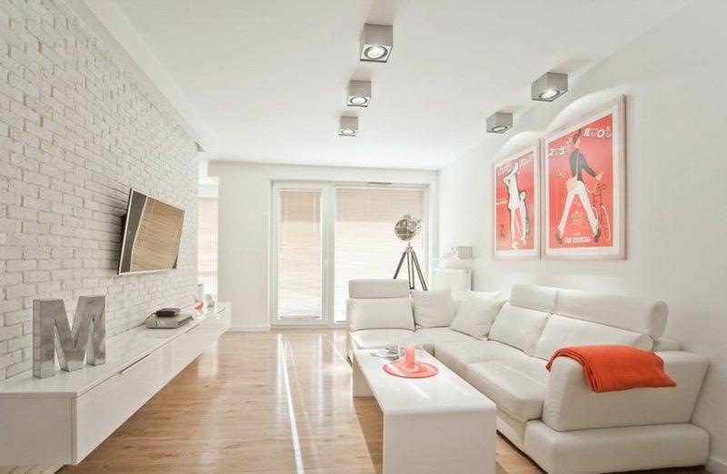 TV Wand Wohnzimmer weisse Backsteine eleganter Look