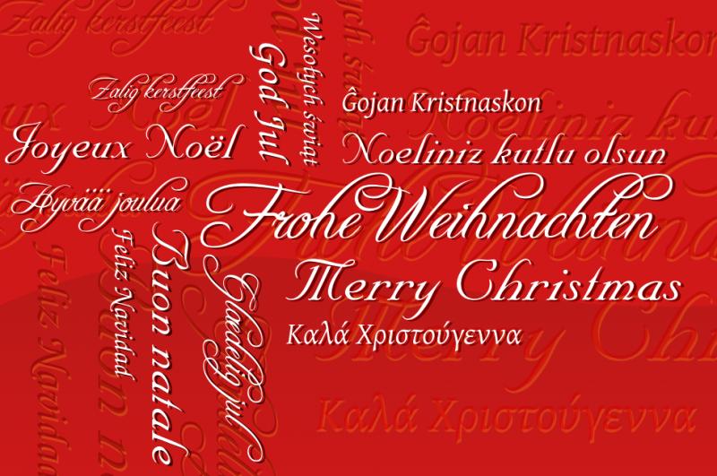Zitate für Weihnachten frohe Weihnachten auf verschiedenen Sprachen