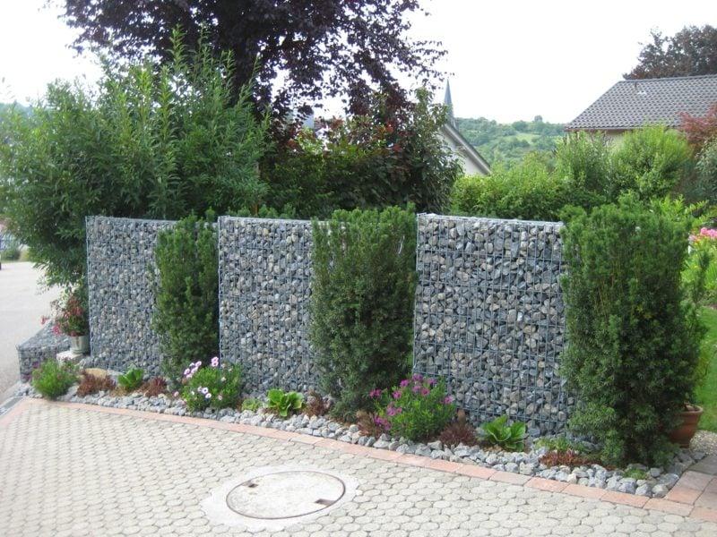 Gabionenzaun klassisch kreative Ideen Gartengestaltung