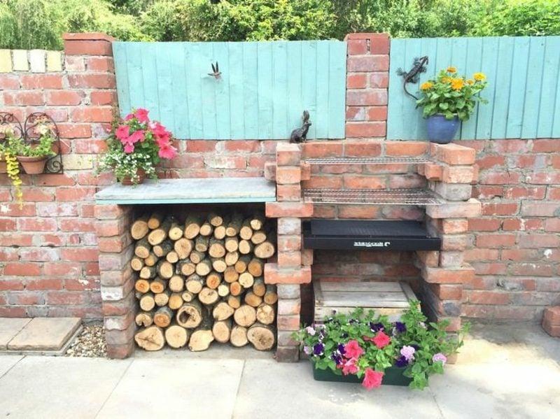 Gartengrill selber bauen Brennholz Abteilung