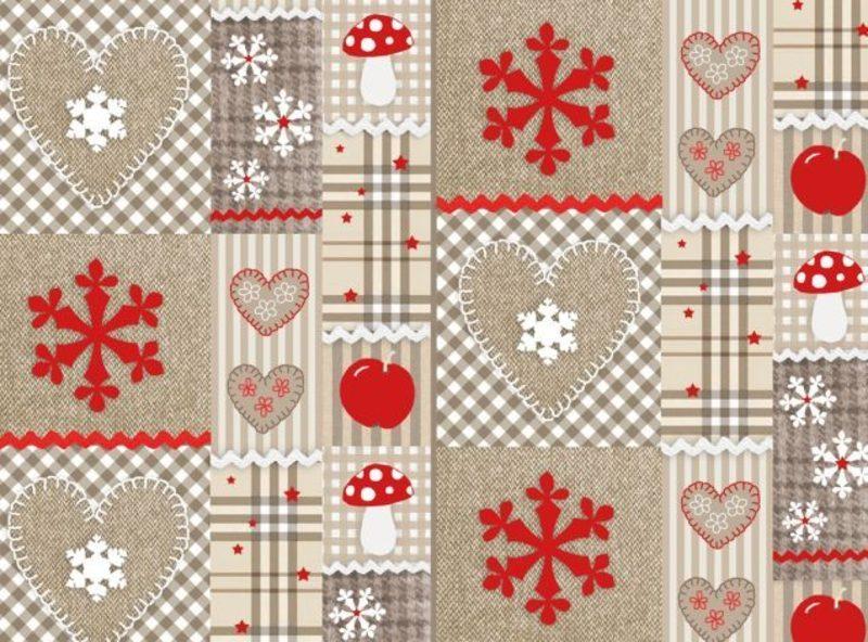 Geschenpapier zu Weihnachten mit traditionellen Motiven Stoffimitation
