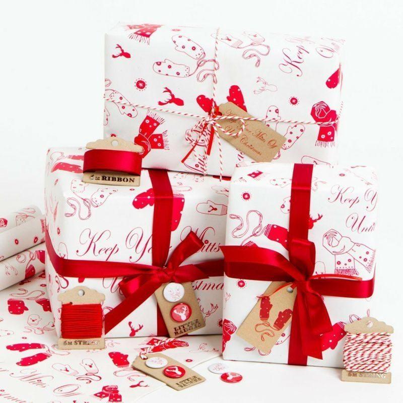 Geschenkpapier zu Weihnachten im Rot und Weiss herrlicher Look