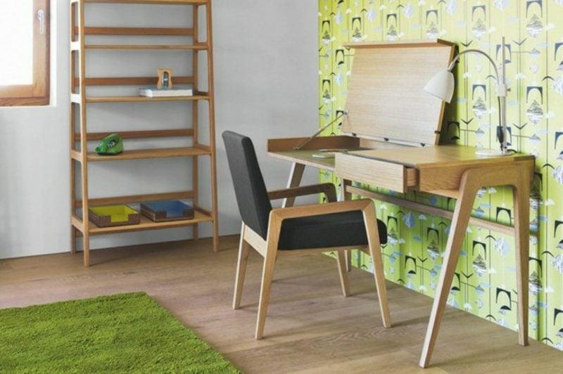 skandinavische Möbel Arbeitszimmer grüne Akzente