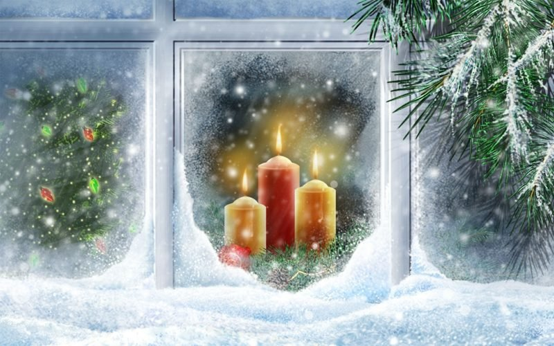 weihnachtliches Fensterbild brennende Kerzen Schnee traumhafter Look