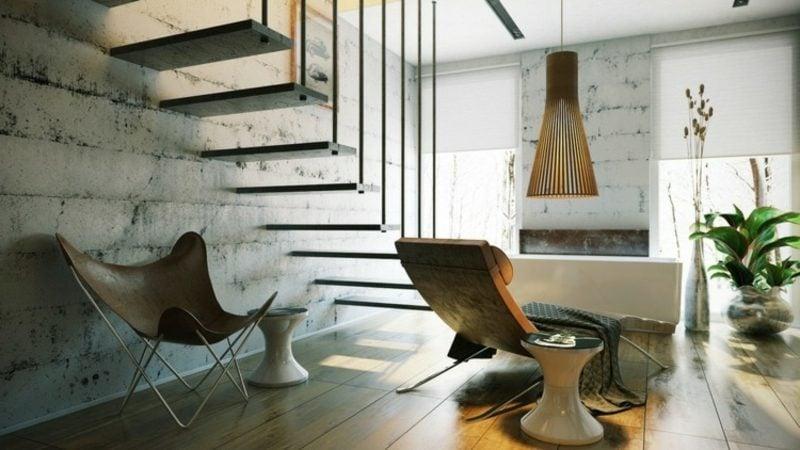 Luxus Badezimmer im Keller originelle hängende Treppe