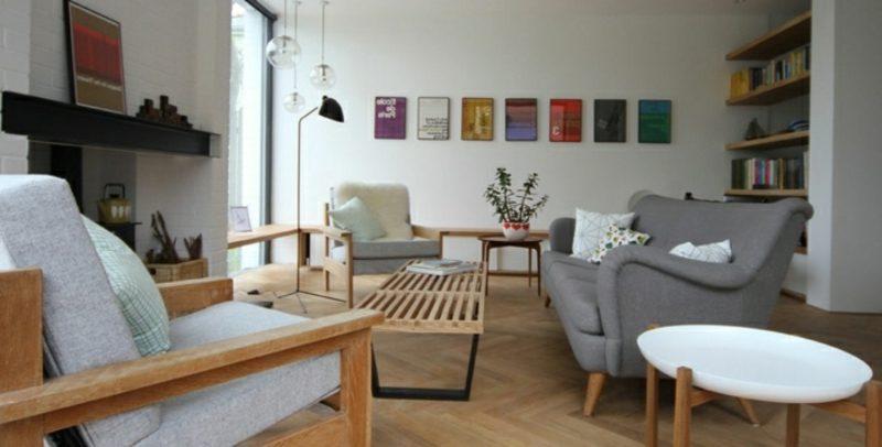 skandinavische Möbel Holz bequeme Sitzecke im Wohnzimmer