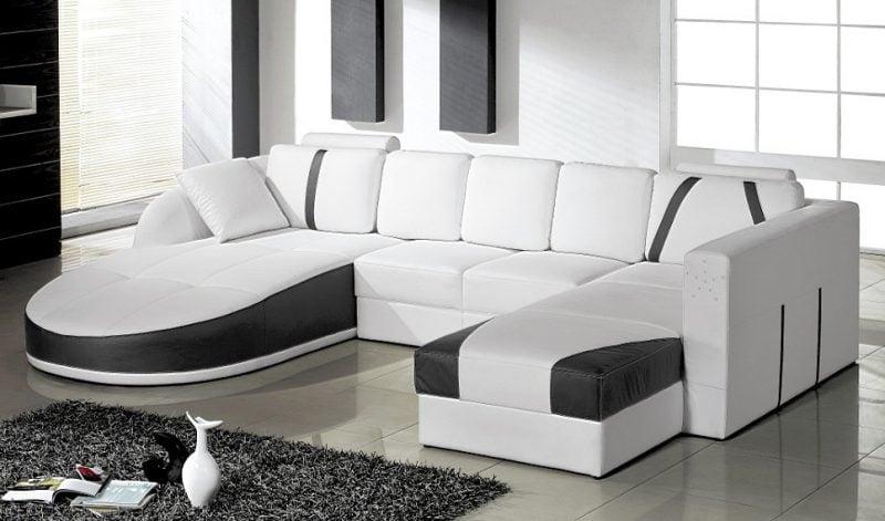 Schwarz- Weißes Ledersofa für Ihre Wohnung!