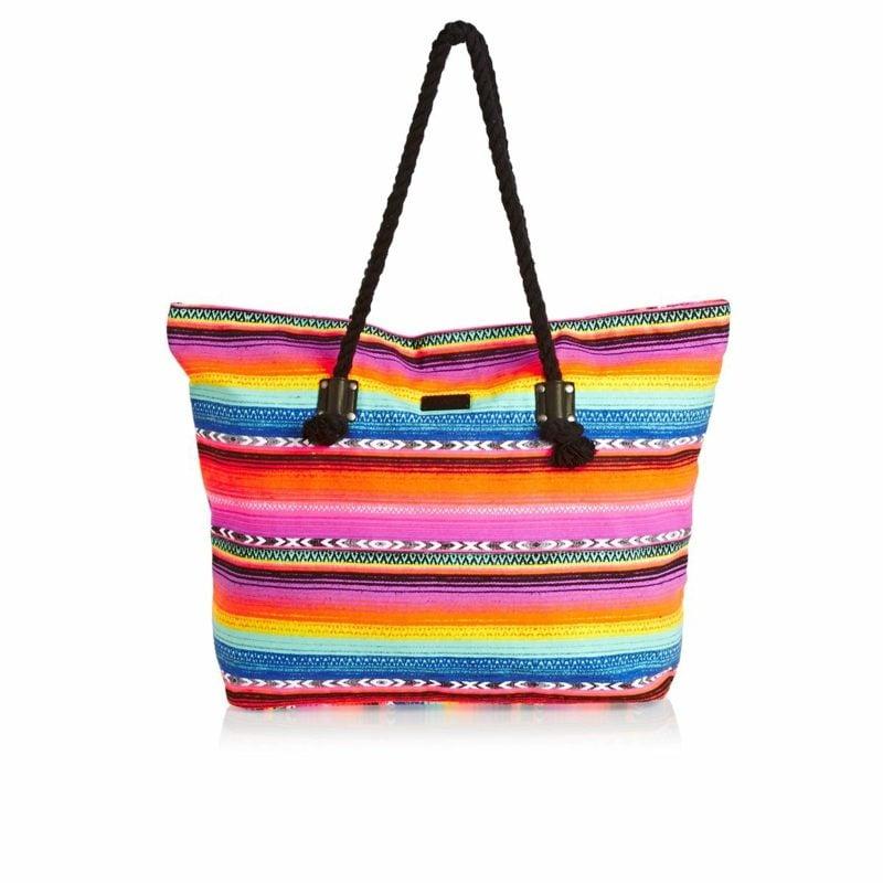 Strandtasche nähen originelle Variante farbig herrlicher Look