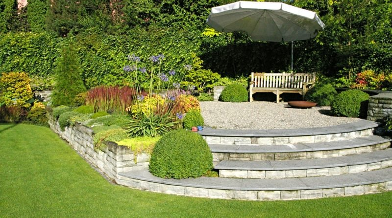 Steinmauer Garten Terrasse Umrandung Treppe