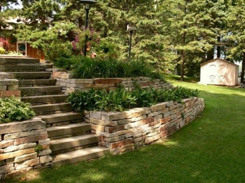 Steinmauer Garten Blumenbeete Treppe