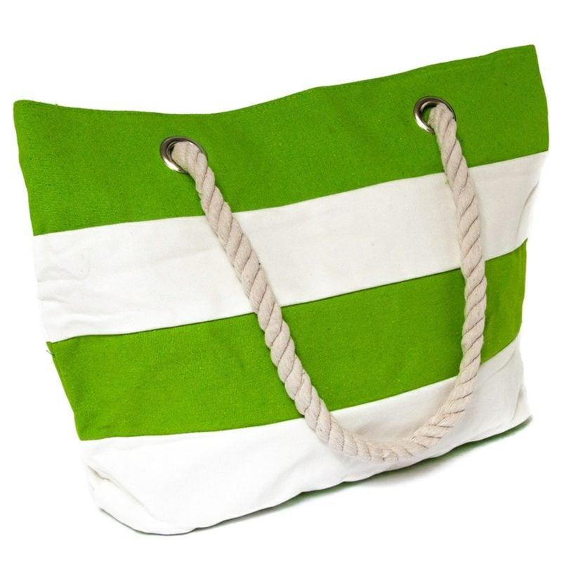 Strandtasche nähen interessantes Modeel aus Stoff gestreift selber gemacht