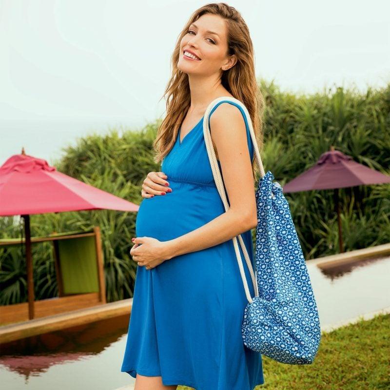 Strandtasche nähen originelle Variante aus Stoff im Blau