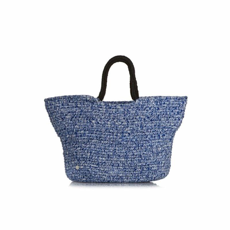 Strandtasche nähen elegante Variante aus Stoff im Blau