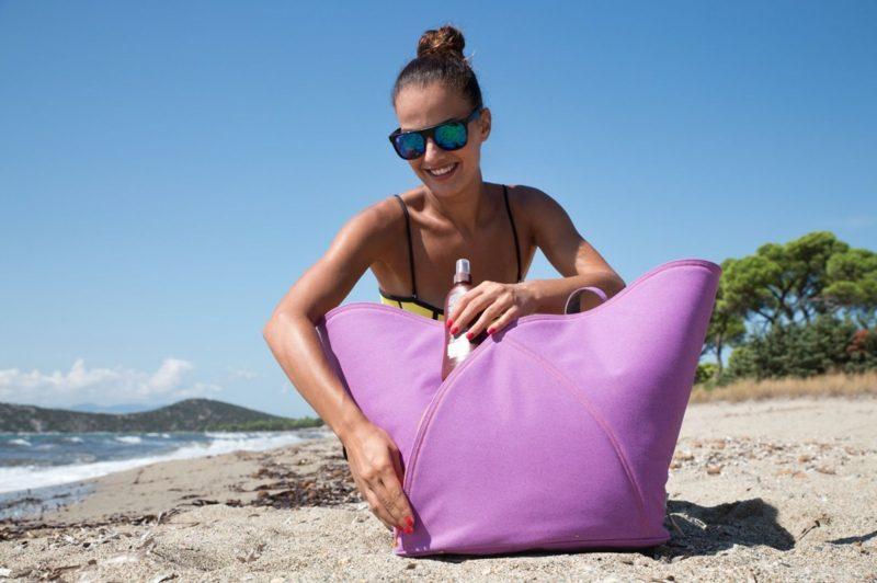 Strandtasche nähen grosse Variante in Lila für Frauen
