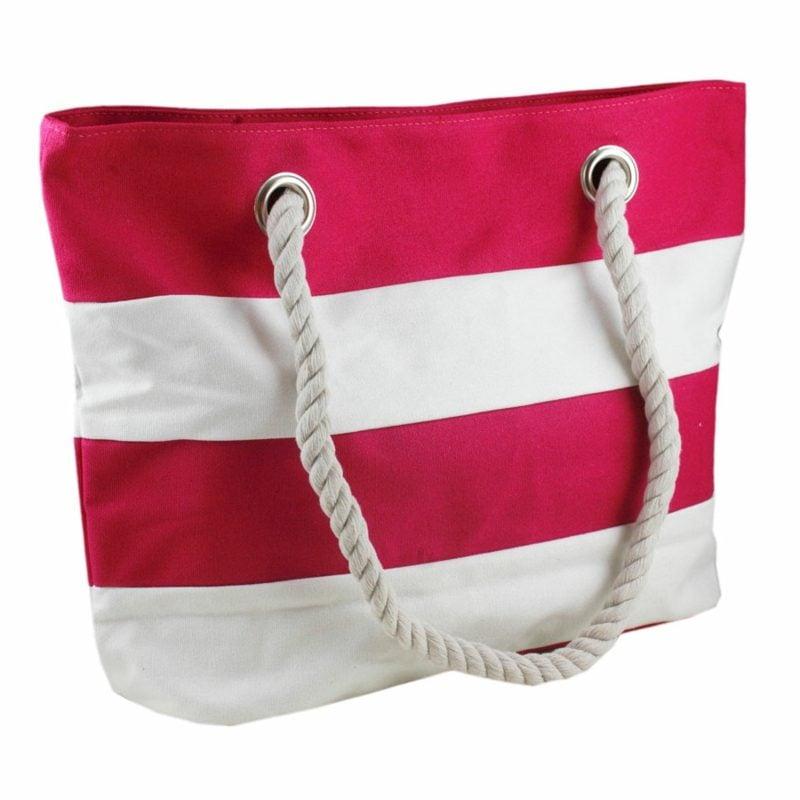 Strandtasche nähen Stoff gestreigt Rot und Weiss