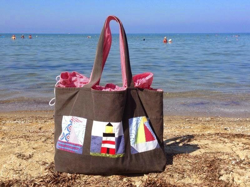 Strandtasche nähen originelles Modeel im Braun selbstgemacht