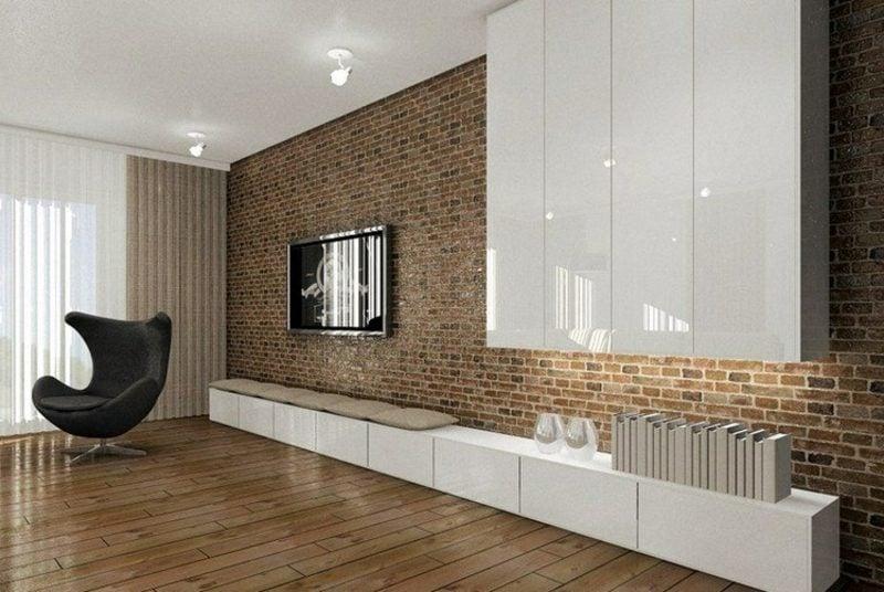 TV Wand aus Backstein im Wohnzimmer herrlicher Look