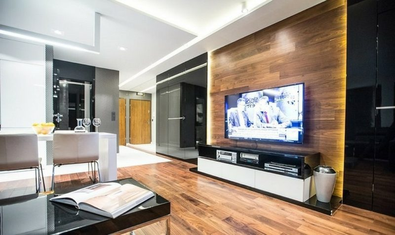 moderne TV Wand aus Holz Ideen und Inspirationen Innendesign
