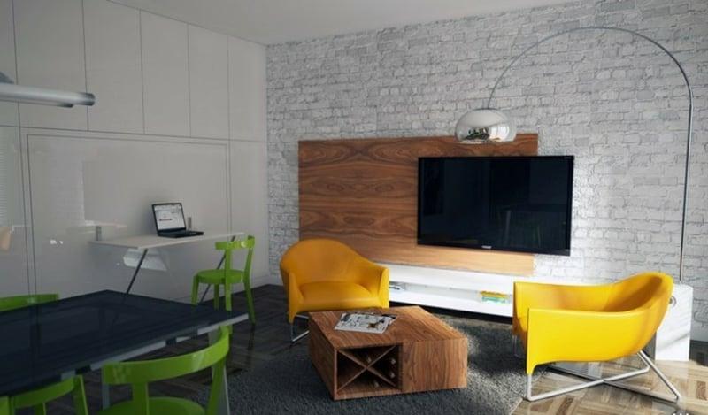 elegante TV Wand Wohnzimmer Wandpaneele aus Holz