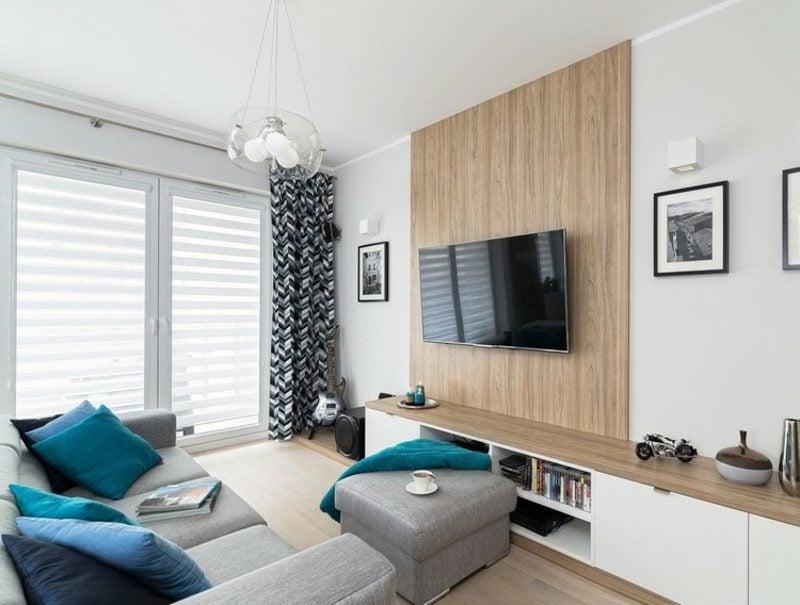 TV Wand selber bauen herrliches Design Wandpaneele aus Holz