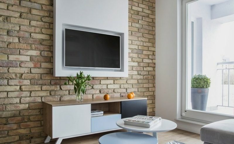 TV Wand selber bauen interessante Ideen Wohnzimmer