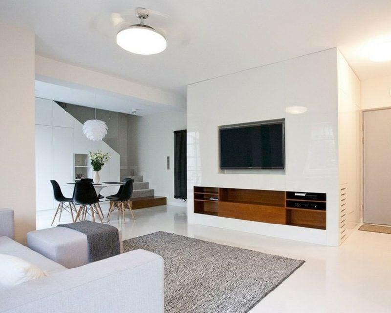 TV Wand weiss Wohnzimmer moderner Look