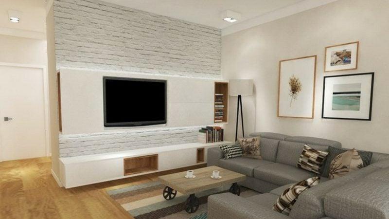 TV Wand mit Regal im Weiss modernes Design