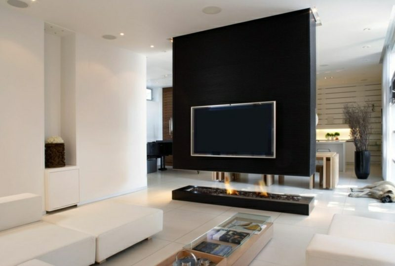 tv wand im schwarz modernes design kamin - Einfache Wohnzimmer Ideen Mit Tv