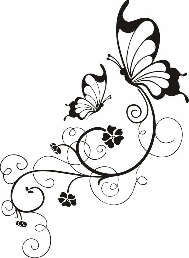 Blumenranken Tattoo Vorlage zwei Schmetterlinge stilisierte Blumen