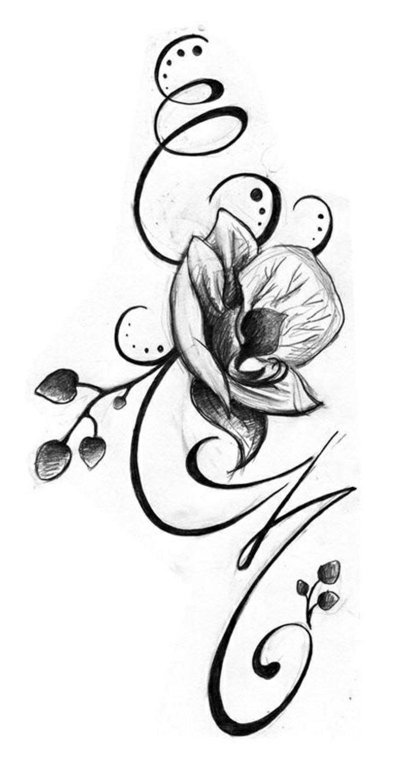 Blumenranken Tattoo Vorlage Orchidee Ideen für Frauen