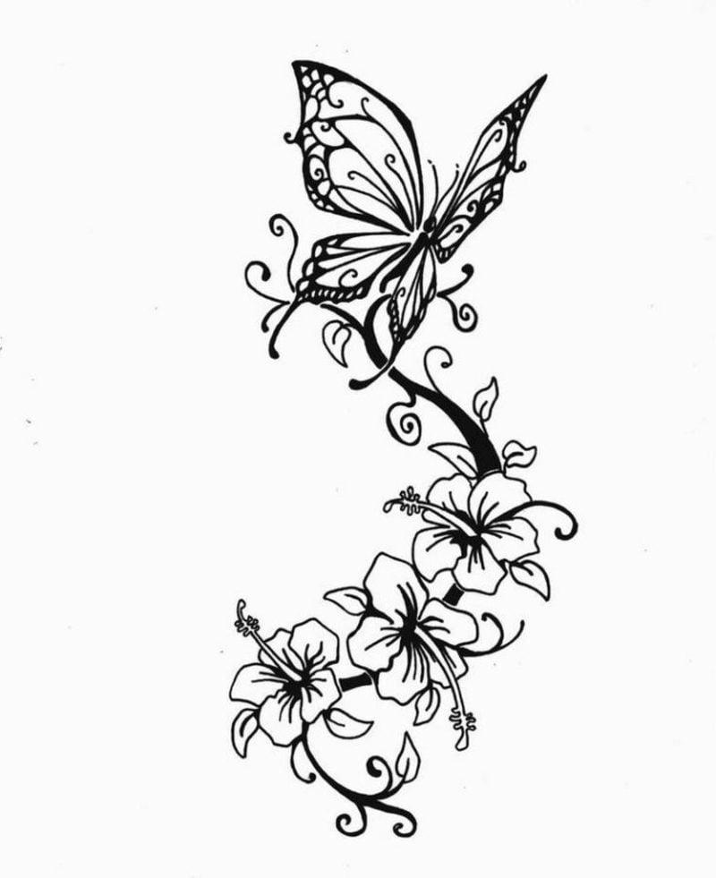Blumenranken Tattoo Vorlage originelle Idee für Frauen