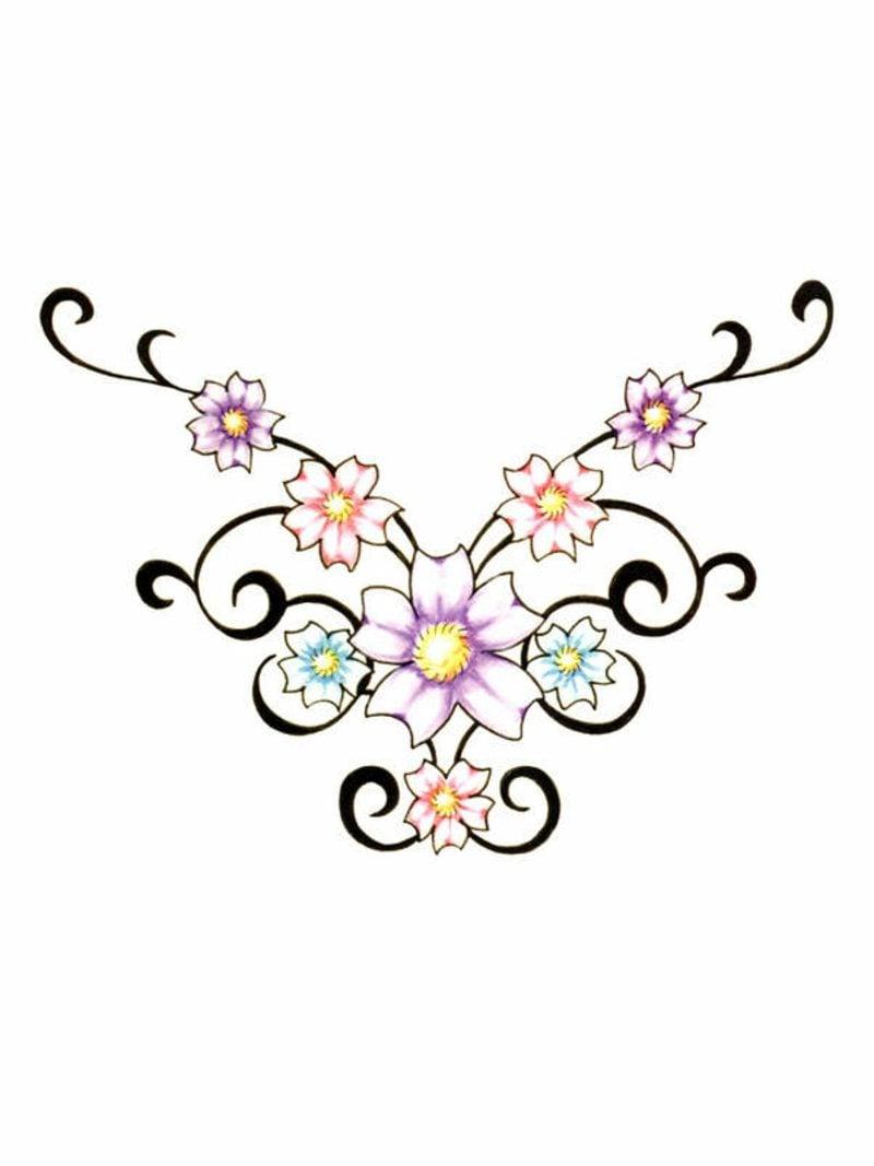 Blumenranken Tattoo farbige Vorlage