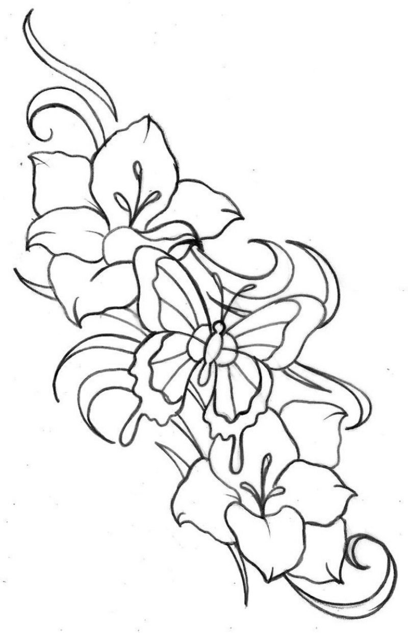 Blumenranken Tattoo interessante Vorlage Blumen und Schmetterling