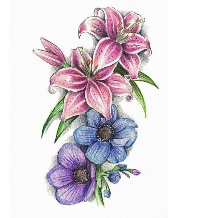 Blumenranken Tattoo farbige Vorlage Frauen
