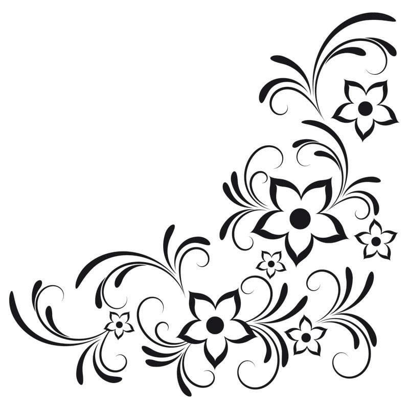 interessante Vorlage Blumenranken Tattoo stilisiert