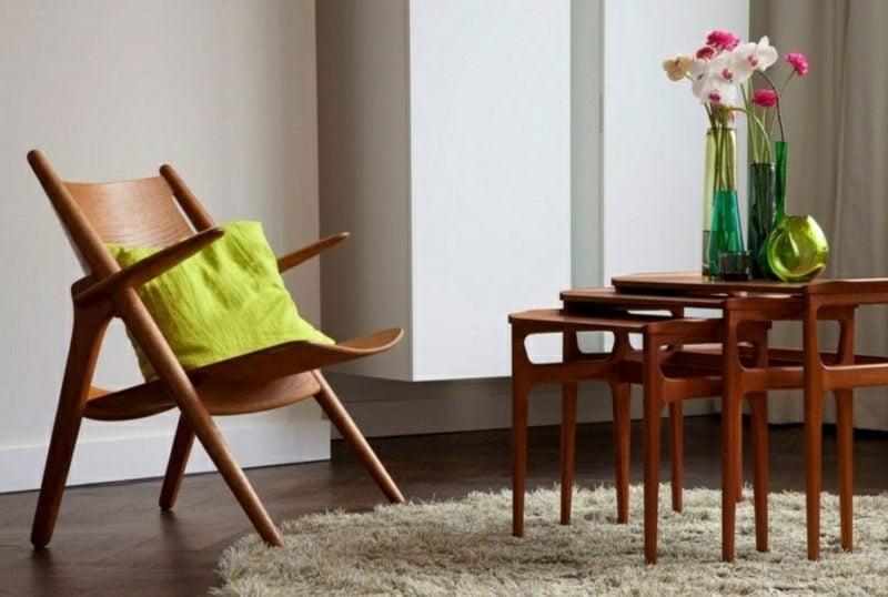 skandinavische Möbel origineller Armsessel aus Massivholz