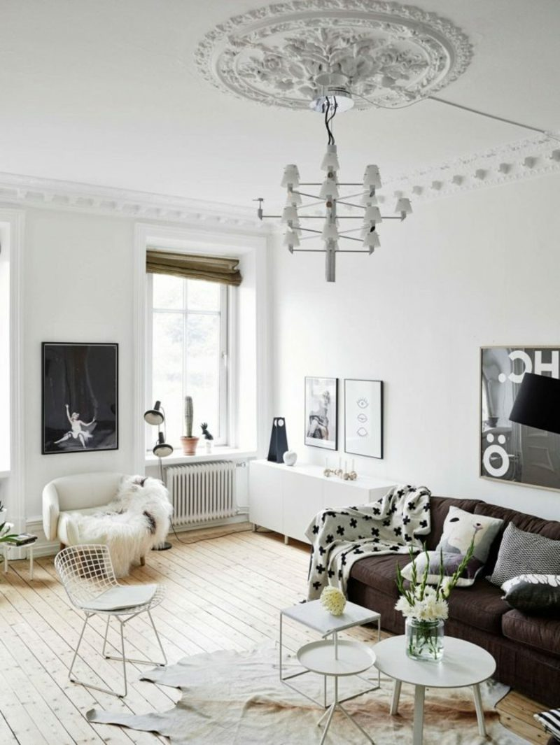skandinavische Möbel herrliches Wohnzimmer im Weiss
