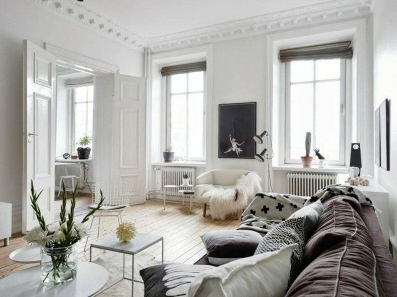 skandinavische Möbel Wohnzimmer puristisch neutrale Farbgestaltung