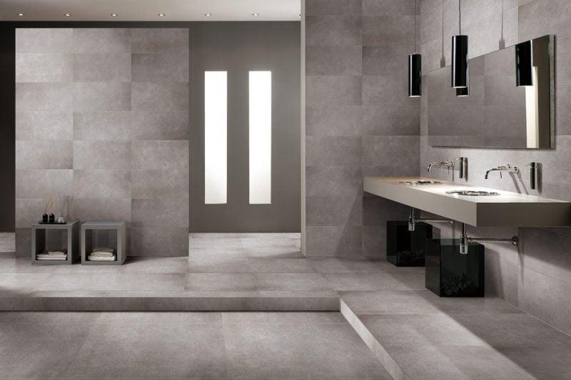 Der neue trend f r das badezimmer betonoptik badezimmer trends zenideen - Moderne fliesen fur badezimmer ...