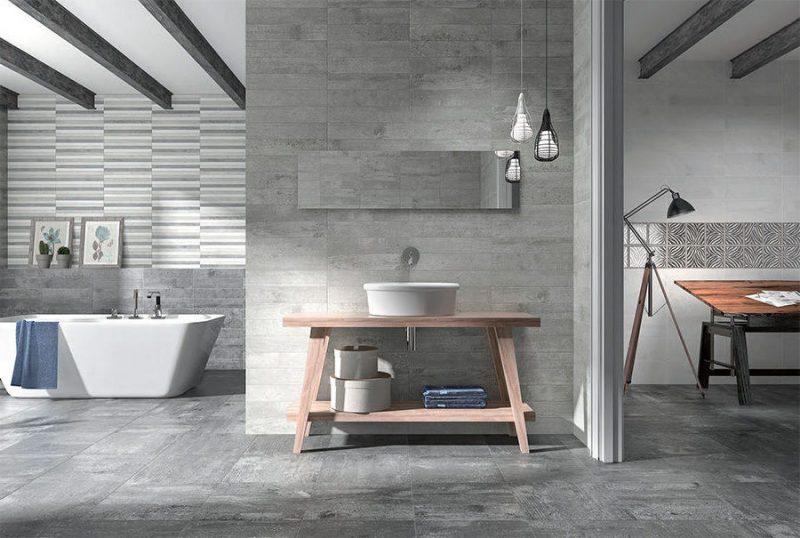 Betonoptik verleiht dem Badezimmer einen industriellen Look